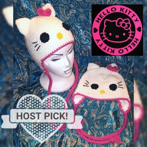 NEW Girl Hello Kitty Handmade Crocheted Hat Beanie f1ace77e17f